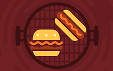 Barbecue grill with burger and hot dog