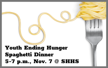Youth Ending Hunger Spaghetti Dinner is November 7