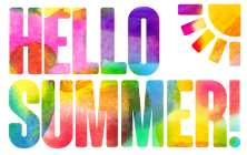 Hello Summer text with sunshine
