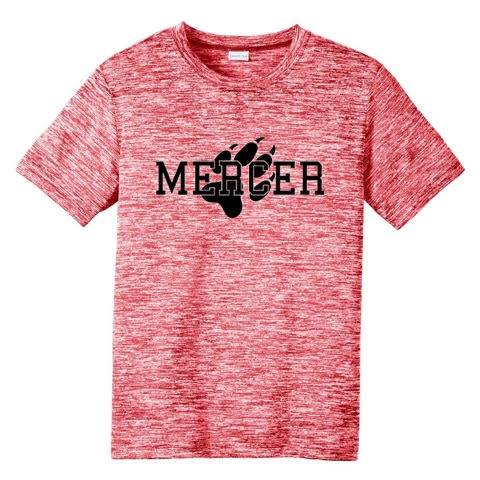 Heather red t-shirt with Mercer and paw print on front in black