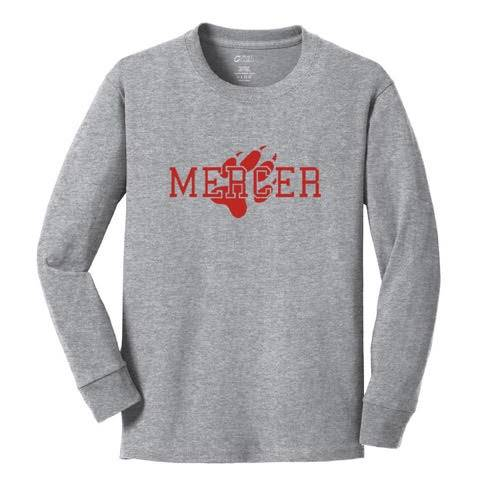 Gray long sleeve tee shirt with Mercer and paw print on front in red