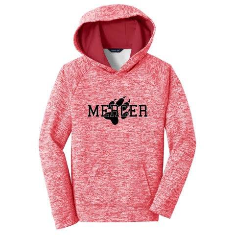 Heather red hooded pullover with Mercer and paw print on front in black