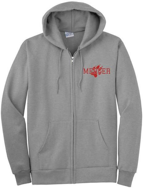 Gray zippered hooded sweatshirt with Mercer and paw print on left front pocket area in red