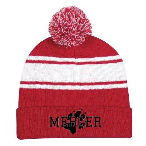 Red and white winter cap with pom pom on top and Mercer and paw print on brim in black