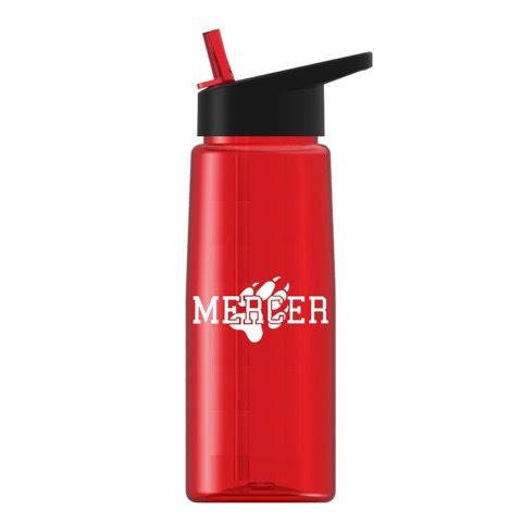 Red clear water bottle with black lid and flip up straw with Mercer and paw print in white