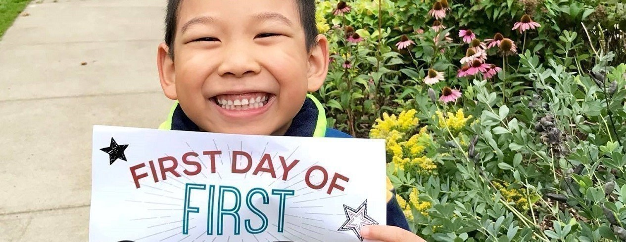 Smiling Student on First Day of School