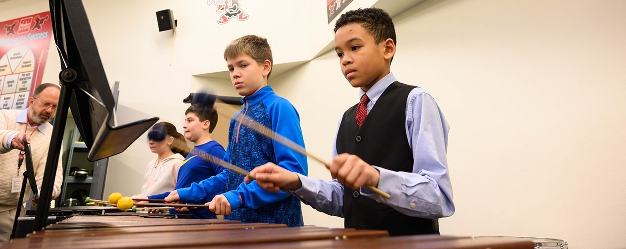 Woodbury students playing percussion