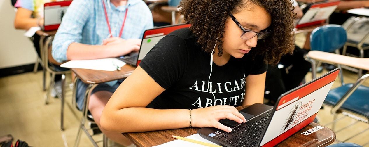High School student on Chromebook