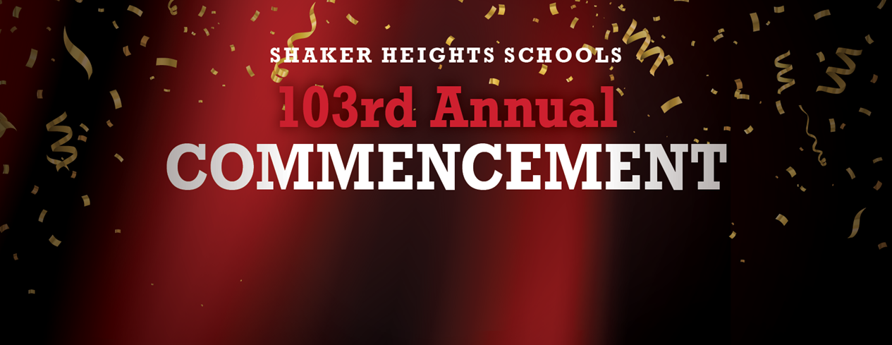 Commencement logo with confetti and a red curtain