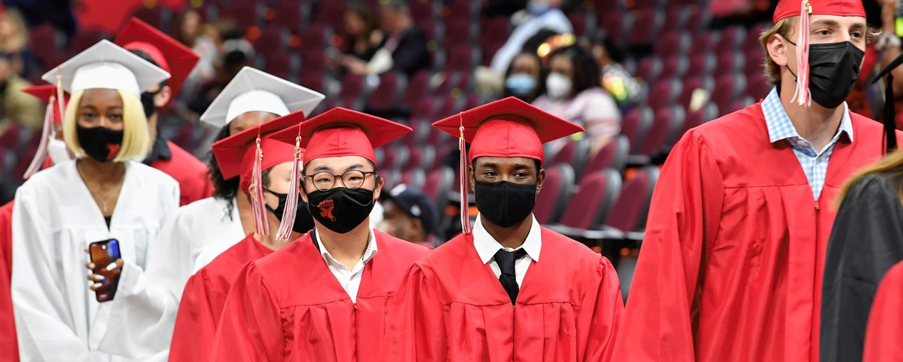 Shaker students arrive in cap and gown for Commencement
