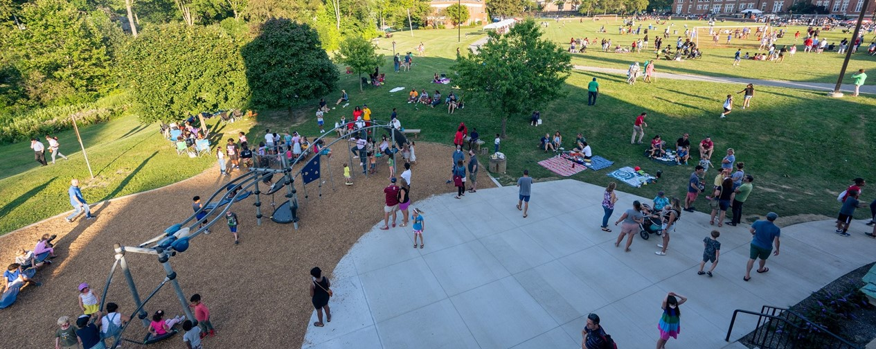 Wide photograph of attendees at the Back-to-School Barbecue