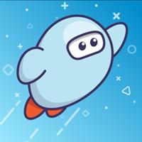 Cartoon astronaut, flying in a blue galaxy.
