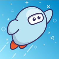 Cartoon astronaut, flying in a blue galaxy.